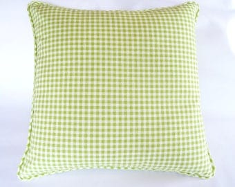 Lime green gingham check cushion cover.