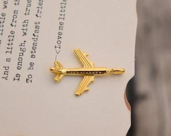 20 plane charms gold airplane charm pendants