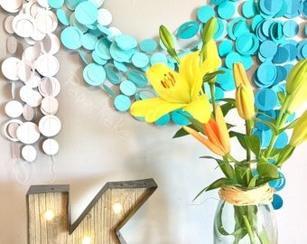 Aqua/Teal Ombre, Bubbles, Under the Sea Party Decoration Garlands