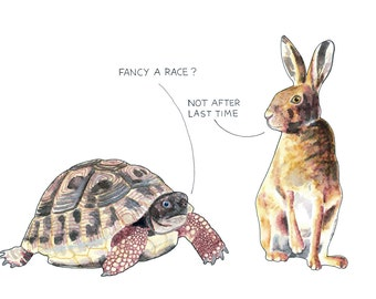 The Tortoise and the Hare - alternative, card or mounted print, funny, Aesop's fable, slow & steady wins race, running, racing, drawing