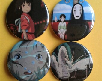 Set of 4 25mm Spirited Away badges
