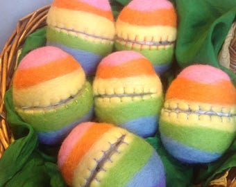 Rainbow hollow fillable felted Easter eggs