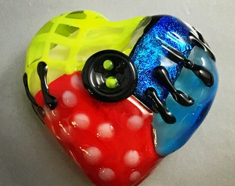 Lampwork-Heart-Focal-Gothic-Button Stiched-Silver Glass/Black/Red/Pea Green/Blue Dichro/Ivory