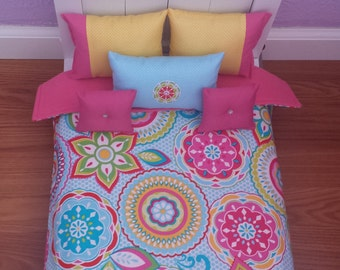 """Handmade -6-PC-bedding set Bright Floral for American girl doll or any 18"""" dolls bed"""