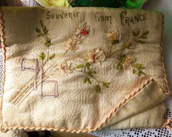 Silk Handkerchief envelope c1920s  'Souvenir fromFrance'