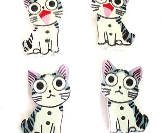 Wholesale Wood Cat 2 Hole Buttons Mixed Color Wood Kitten Sewing Buttons Sewing DIY Craft Buttons Scrapbooking Embellishments Craft Button