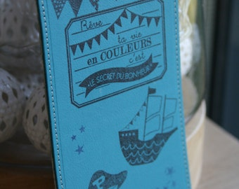Bookmarks leather blue and Liberty boats pirate theme