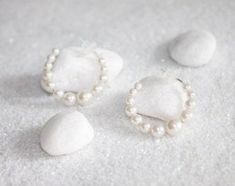 Hypoallergenic Silicone Pearl Hoop Earrings