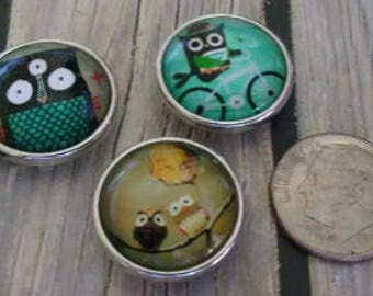 Interchangeable Snap Button Jewelry, Owl's Set of 3, #e-129