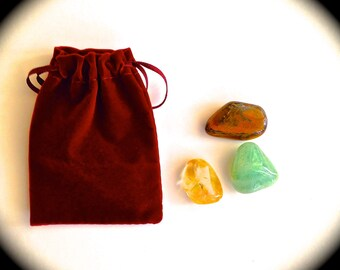 WEALTH/PROSPERITY CRYSTALS..Aventurine, Tigers Eye, Citrine..Three Lucky Crystals for Business Success and Abundance..With Velveteen Bag