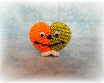 Heart with wings, Amigurumi, orange, green, handmade, unique, handmade, OOAK
