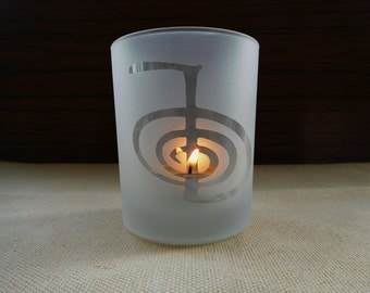 Reiki  engraved Glass. Cho Ku Rei  Frosted or Clear  candleholder