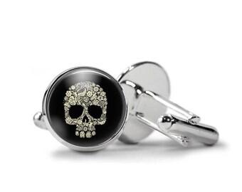 Sugar Skull Cufflinks Day of The Dead Cufflinks Skull Cufflinks PM-244