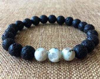 8mm Natural Lava Rock Bracelet. Men's Bracelet, Black lava bracelet, volcanic lava kiwi gemstone bracelet, black bracelet,lava jasper
