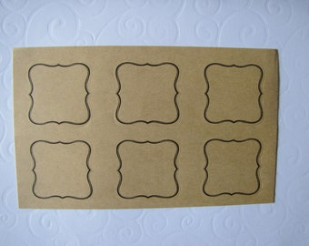 12 labels adhesive kraft with liserai black Baroque - 2 boards of 6 -.