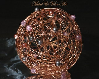 Metal ball for decoration, wire ball, decor ball with beads, christmas ball, christmas decor, copper ball