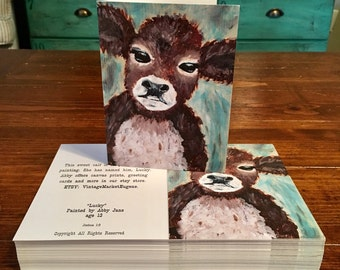 Lucky Baby Calf Cow Greeting Cards set of 5 by Abby Jane matching envelopes