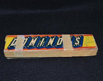 Vintage Dragon Dominoes, Domino Game Set by Halsam, Wood Dominoes Set, Original Box and Complete tet 28 Dominoes, Vintage Game from 1950s