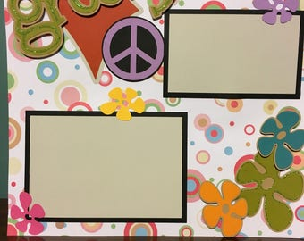 """Premade 12 x 12 """"Groovy"""" Scrapbook page"""