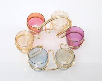Vintage set 6 x Multicolored Shot Glass w Modernist String Wire Caddy Metal Holder
