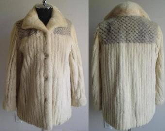 IVORY CORDED MINK Jacket / Sapphire Mink  Yoke Size 5/6