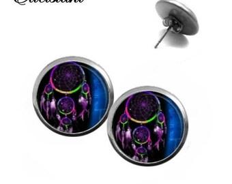 Earrings stainless steel cabochon jewelry dream catcher 1 blue black purple