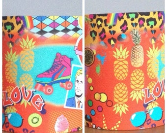 lampshades 2 x small handmade lampshades in a retro 80s pop art upholstery fabric 20cm