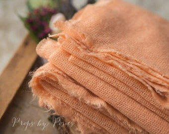Newborn Photography Prop - Peach Mohair Stretch Wrap/Layer