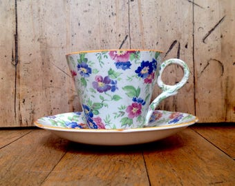 Chintz teacup and saucer made in England, vintage china