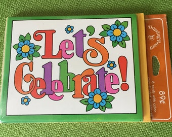 vintage 70s nip drawing board greeting cards inc lets celebrate invitations set of 8 with bright retro letters design with flowers