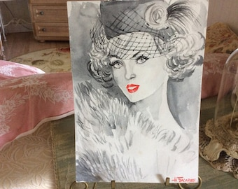 Vintage Watercolor Painting, Black and White, Fashion, Signed