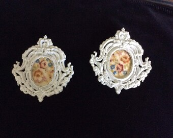 SALE!  Antique Petite Point, 2 Matching, Brass frames Painted white