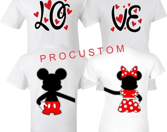 Mickey & Minnie LOVE VALENTINES Couple Matching Front and Back TShirts S-5XL