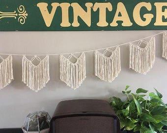 Twisted fringe cotton macrame banner