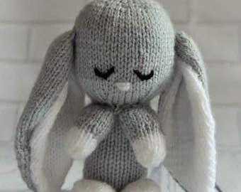 Baby Bunny Rabbit Knitting Pattern, Easter Bunny Knitting Pattern, Bunny Knit, Baby Shower Gift, , Easter Knit, Bunny Comforter Knit Pattern