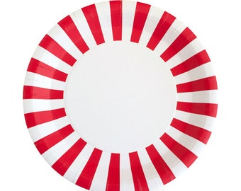 Red Dinner Plates / Stylish Design Plates / Red Striped Party Plates