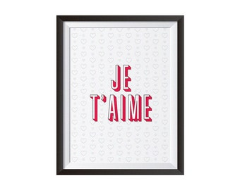 Je t'aime Poster, I love you Poster, Je t'aime Digital Print, Sentimental Poster