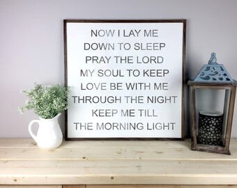 Now I Lay Me Down To Sleep Sign | Nursery Decor | Pray The Lord My Soul To Keep