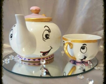 Hand paintd Beauty and the beast inspired teapot and tea cup