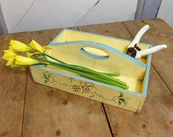 Gardening Tidy or Trug, Painted Wood with Stencils