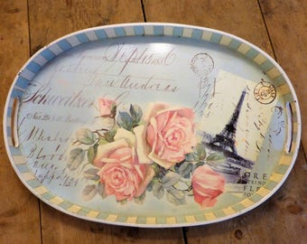 Eiffel Tower Shabby Chic Tray - Pale Duck Egg and Pink Roses