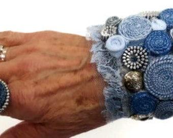 Fabric bracelet/ Textile jewelry/ Tribal bracelet /Hippie bracelet/ Textile bead/ Handcrafted /Fabric turquoise bead
