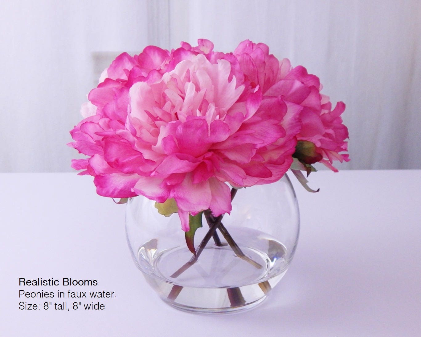 Pinkhot pink silk peonypeonies glass vase faux water pinkhot pink silk peonypeonies glass vase faux water acrylic illusion real touch flowers floral arrangement centerpiece gift reviewsmspy
