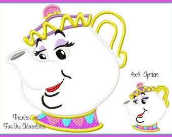 Mrs. Potts the Tea Pot from Beauty and the Beast Applique Digital Embroidery Machine  Design File 4x4 5x7 6x10