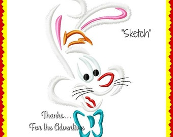 Roger Rabbit from Who Framed Roger Rabbit Sketch Digital Embroidery Machine Applique Design File 4x4 5x7 6x10