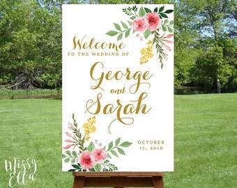 Romantic Spring / Printable Wedding Welcome sign, Watercolor welcome sign printable, Reception sign printable, Wedding Poster, Digital File
