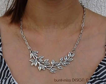 Statement necklace large leaves leaf branch necklace chain jewelry colorful-mixx-DESIGN