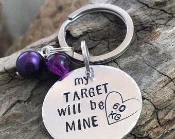 Stamped Weight Keychain, Weight Loss Keychain, Diet Keyring, Keychain Target Weight