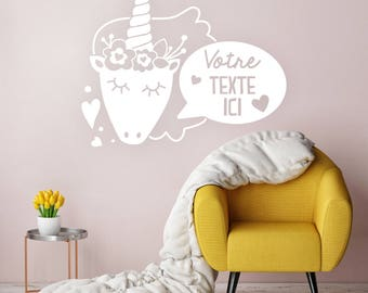 Customize your text - Unicorn boho flower - wall lettering - Decoration - child baby girl woman MOM - wall decal - shower gift