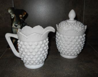 Fenton Hobnail Milk Glass Sugar & Creamer Set
